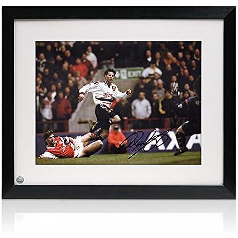 Enmarcado Firmado Ryan Giggs del Manchester United Foto: Maravilla de la FA Cup Semi Final Meta