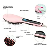 Wazdorf Women's Electric Comb Brush Nano 2 in 1 Straightening LCD Screen with Temperature Control Display (Multicolour)