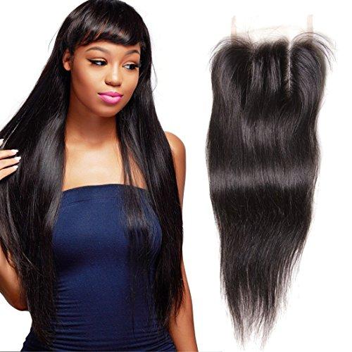 Mudra 16inch, Three Part: Unice Hair Malaysian Straight Virgin Human Hair 4X4 Lace Closure Natural Color (16inch, Three Part)
