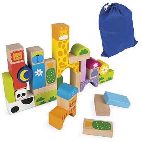 Imagen para ColorBaby - Juegos bloques animales, madera, 32 piezas (42739)