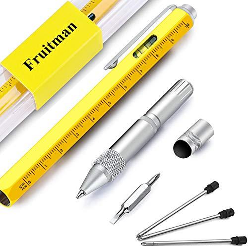 Bolígrafo multiherramienta con lápiz óptico para pantalla táctil, regla con escala, nivel de burbuja, pequeño juego de destornilladores (plano y Phillips), recargable, ideal para regalar