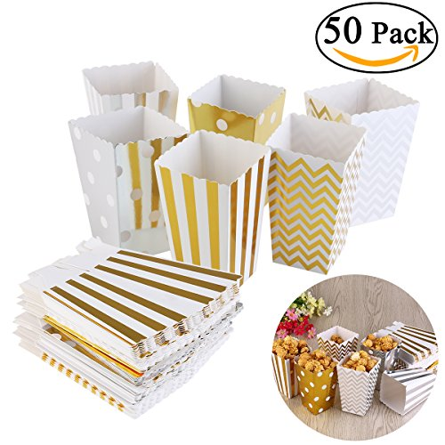 Price comparison product image NUOLUX 50pcs Popcorn Boxes Cardboard Party Candy Container Treat Cartons