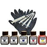 Premium Tinte Set Nachfülltinte 5 x 50 ml Tinte für Patronen HP 302 Black und Color Plus 4 Nachfüllspritzen mit Nadeln und 1 Paar Latexhandschuhe