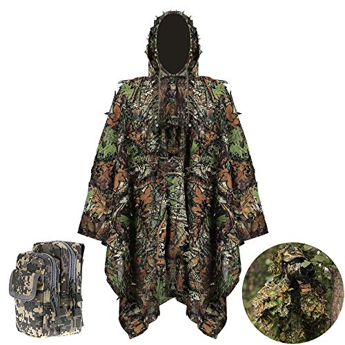 BBYaki Ghillie Suit 3D Leafy Leaves Camouflage Kleidung Dschungel Woodland CS CloakHunting Camo Stealth Poncho mit Kleinem Nylon-Taillen-Pack