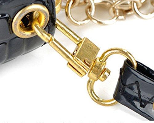 Lunga Portafoglio da Donna in PU pelle con zip e di grande capacità Clutch Pochette con cinturino per polso estraibile Anguria rossa Nero