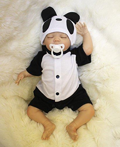 OUBL 18Zoll 45 cm Billig Puppen Reborn Babys Junge lebensecht Silikon Vinyl Wie Echt mit Augen zu Doll Magnetismus Spielzeug