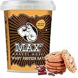 MAX MUSKEL MÜSLI Whey Protein Oats Müsli Haferflocken fein viel Eiweiß Porridge ohne Zuckerzusatz & Nüsse fettreduziert Sportlernahrung Muskelaufbau gesundes Frühstück 100g ToGo Becher Schoko Cookie