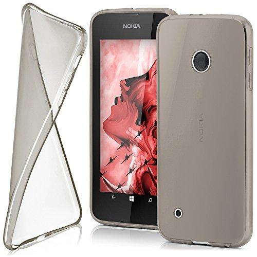 moex Nokia Lumia 530 | Hülle Silikon Transparent Grau Clear Back-Cover TPU Schutzhülle Dünn Handyhülle für Nokia Lumia 530 Dual SIM Case Ultra-Slim Silikonhülle Rückseite