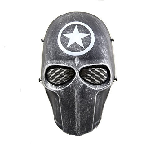 Paintball CS Cosplay Hockey Tactical BB Protect Halloween-Kostüm Full Face Schutzmaske 10 Farben erhältlich, Schwarz/Smile/Kreuz/Totenkopf Star