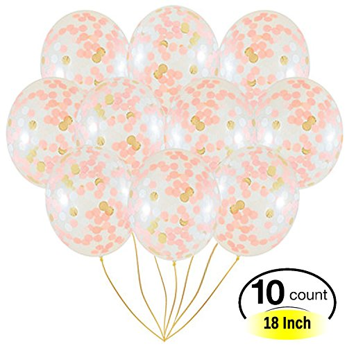 Amison globos de confeti de oro rosa, 10 unidades, tamaño grande, 45 cm, color rosa claro y blanco, papel prerelleno, para bodas, compromisos, fiestas de cumpleaños