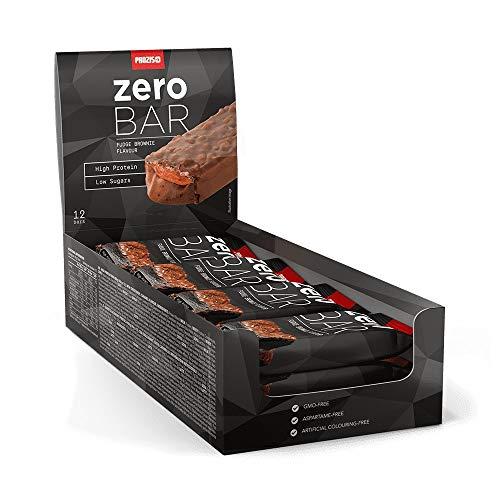 Prozis 12 x zero bar 40 g - basso contenuto di zuccheri fudge brownie - più sostanza, altamente proteico, snack amico della forma, consente di godere