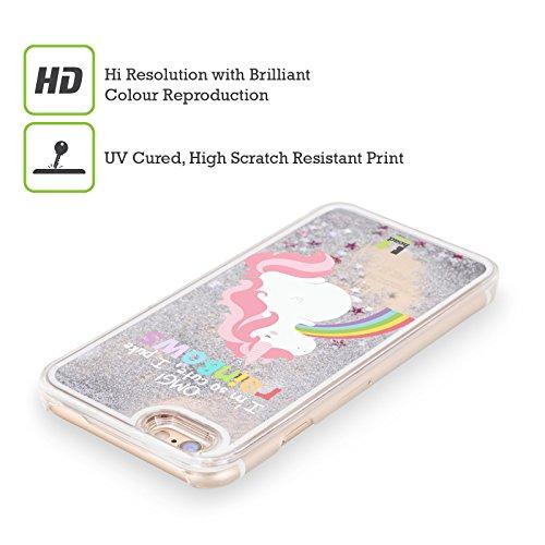 Head Case Designs Unicorno Vomito Arcobaleno Custodia Cover con Glitter Liquidi Argento per Apple iPhone 5c Unicorno