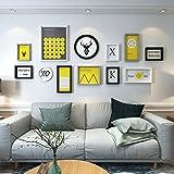 Der Nordic Wandbild Gemälde Die Rentiere minimalistischen modernen europäischen Stil Schlafzimmer Wohnzimmer nach der Sofa Hintergrund hängen auf der Wand, Multi Box Kombination der Composite Echtholz, schwarz-weiß-(Nordic Wind) B), Spell Kit