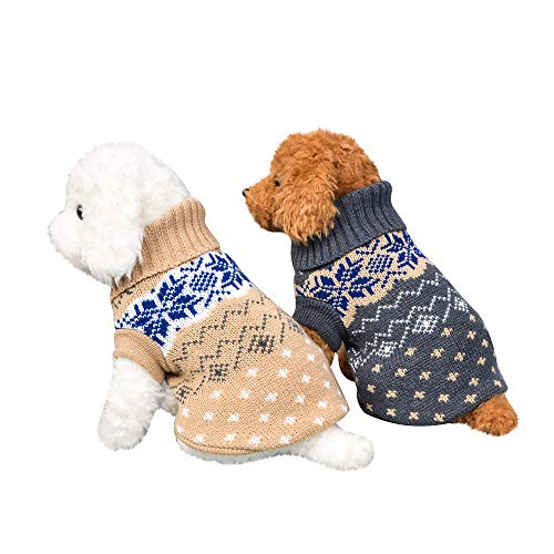 Fenverk_Haustier Hund Katze Winter Warm Rollkragen Sweatshirt Mantel KostüM Bekleidung Jacke Kleider Hoodies Jumper Zum HüNdchen Klein Mittel Groß Hunde Overall Kleidung(B-Grau,XS) (Für Hunde Pokemon-kostüme)
