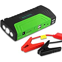 Arrancador de Coche de 16800 mAh, Yokkao®, Jump starter Cargador para Baterías de 12V y Cargador de 12V, 16V y 19V, Batería Externa con Luces de Emergencia, Kit de Arranque para Coche, Moto y Cargador de Smartphone, Laptop, etc. (Verde)