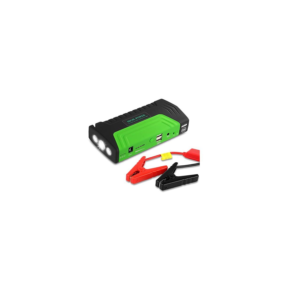 51TNNO6umpL. SS1200  - Arrancador de Coche de 16800 mAh, YOKKAO, Jump starter Cargador para Baterías de 12V y Cargador de 12V, 16V y 19V, Batería Externa con Luces de Emergencia, Kit de Arranque para Coche, Moto y Cargador de Smartphone, Laptop, etc. (Verde)