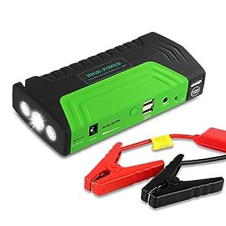 51TNNO6umpL. SS324  - Arrancador de Coche de 16800 mAh, YOKKAO, Jump starter Cargador para Baterías de 12V y Cargador de 12V, 16V y 19V, Batería Externa con Luces de Emergencia, Kit de Arranque para Coche, Moto y Cargador de Smartphone, Laptop, etc. (Verde)