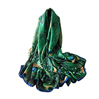 Homeofying Fashion Peacock Faux Faux Feather Scarves Women Silk Cover Up Scarf Beach Travel Shawl Green ...