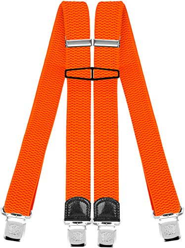 Decalen Hosenträger für Herren mit 4 Starken Clips X Form Lang Eine Größe Passt Alle Verschiedenen Farben, Orange Neon, Lange