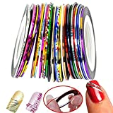 CINEEN Gemischt Nageldesign Nail Art Stripes Tape Zierstreifen Packung mit Nail Art Stripe Sticker 30 Rollen Striping Tape in verschiedenen Farben