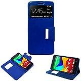 Donkeyphone - Flip Cover Azul para BQ AQUARIS E5S / E5S Lite / E5S Essential / E5 4G / FNAC 2 5' 4G...