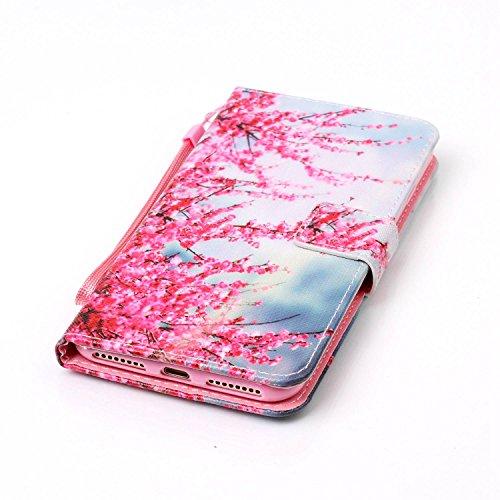 iPhone 7 Plus 5.5 Custodia,Feeltech alta Qualità Colorato Modello Sottile Foglio Cuoio PU Portafoglio con [Free 2 in 1 Penna Dello Stilo] Interno TPU Bumper Funzione Dello Stand [Slot per Schede][Ch Fiore di prugne