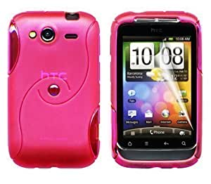 Gadgeo Hot Pink Gel Silicone TPU Case Cover for HTC Wildfire S with Screen Protector and Cleaning Cloth