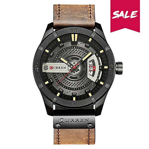 Montre Homme Curren Quartz : Montre Waterproof à Quartz analogique, Multifonctionnel Montre-Bracelet (Black-Blue) (Coffee)
