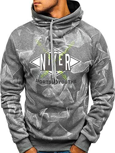 BOLF Herren Sweatshirt ohne Kapuze Pullover mit Stehkragen Aufdruck Sport Style RED Fireball 80672 Grau XXL [1A1] | 05902646905396
