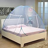 #8: BEST4U Mosquito Net Folding Portable for Double Bed Insect Protection Repellent Shield Home &Travel, Hanging Kit Quality product Lightweight Pop-Up Tent for Beds with net bottom for baby's adults camping trips picnic anti-mosquito - Blue