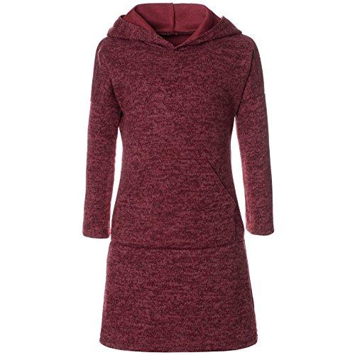 BEZLIT Mädchen Pullover Kleid Long Tunika Langarm Kapuze 21579 Bordeaux Größe 164 -