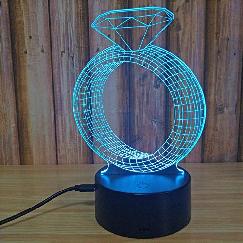 Neuheit Diamant Ring Kreative Bunte 3D Illusion Visuelle Leuchte USB Schreibtischlampe LED Acryl Nacht Schlaf Nachtlicht Geschenk