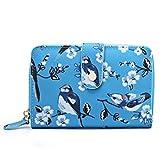 Miss Lulu Women Grey Flower Bird Purse Oilcloth Short Wallet Clutch Hand Bag (1580-16J Blue)