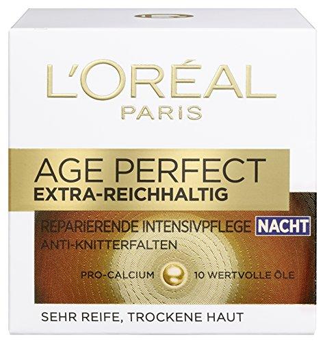 L'Oreal Paris Age Perfect Extra-Reichhaltig Gesichtscreme, mit Pro-Calcium für die Nacht, kräftigt und glättet trockene Haut, 50 ml -