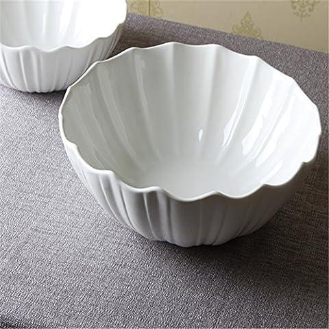 Pure white ceramic bowl creative soup bowl fruit salad,9 inch
