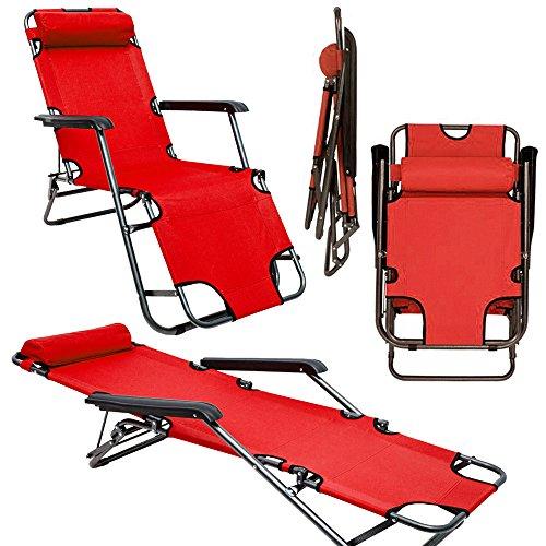 Sedia a sdraio pieghevole | prendisole 153 cm + poggiatesta + poggiagambe + schienale reclinabile | rosso