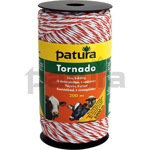 Fil électro-plastique Tornado, blanc/orange, 1 cuivre d= 0,30, 5 inox d= 0,20 rlx de 1000 m - 180701