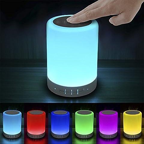 Elecstars Bluetooth Lautsprecher LED Nachtlicht, Farbwechsel Tischlampe mit Touch Schalter, USB aufladbar Tischleuchten, Schlaflicht für Babys Zimmer, Indoor & Outdoor, Ideale Geschenk für Frauen und Kinder (weiß)