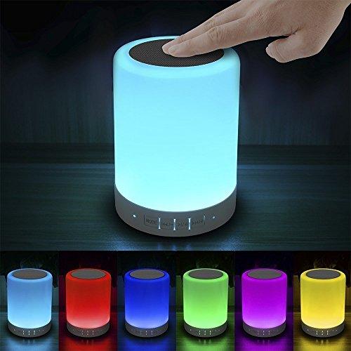 Nachttischlampe mit Bluetooth Lautsprecher, Elecstars LED Tischlampen Stimmungslicht Dimmer und Touch Funktion mit 7 Farbwechsel für Kinder Jungen Kinderzimmer Romantische Geschenke USB Ladegerät Design