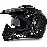 Vega Off Road OR-D/V-SKT-KS_M Sketch Full Face Graphic Helmet (Black and Silver, M)