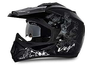 Vega Off Road OR-D/V-SKT-KS_L Sketch Full Face Graphic Helmet (Black and Silver, L)