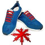 FunFitness Cordones Elasticos Gomas Cordón Elasticas Zapatillas de Silicona para Halar y Bloquear Fácilmente Perfecto para Niños o Adultos Mayores con Artritis (Estándar 12 piezas, Rojo)