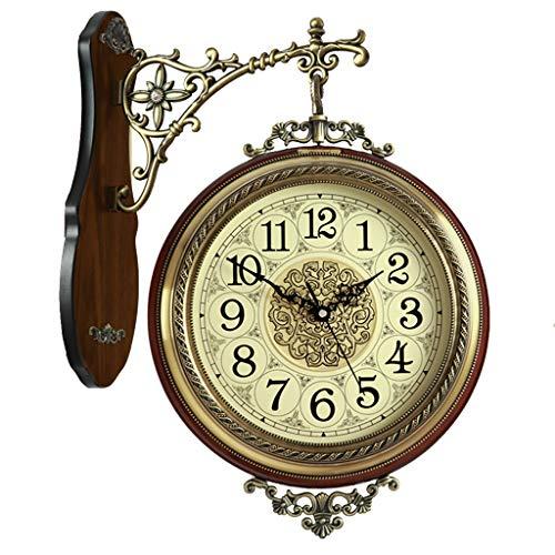 Relojes de pared Reloj Doble Retro de Doble Cara Chimenea Silencio Decorativo Reloj de Dos Caras Color...