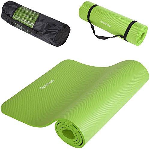 Readaeer® Fitnessmatte Yogini für Gymnastik Yoga Pilates 183 x 61 x 1,0 cm mit Tasche und Tragegurt(Grün)
