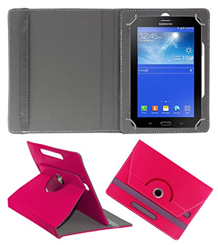 Acm Rotating 360° Leather Flip Case For Samsung Galaxy Tab 3 T111 Neo Tablet Tablet Cover Stand Dark Pink  available at amazon for Rs.149