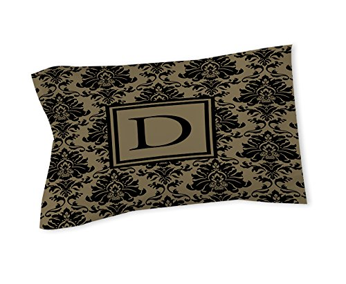 Manuelle holzverarbeiter & Weavers Kissen Sham, Standard, Monogramm Buchstabe D, schwarz und gold Damast -