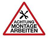 Schild Aufsteller - Achtung Montage Arbeiten/Dreieck 50x46cm - Direktdruck auf 4mm starker AluDibond Verbundplatte - freistehend aufstellbar