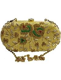 Arisha Kreation Co Zardosi Hand Work Bridal box Clutch Using Raw Silk Fabric (Yellow Golden)