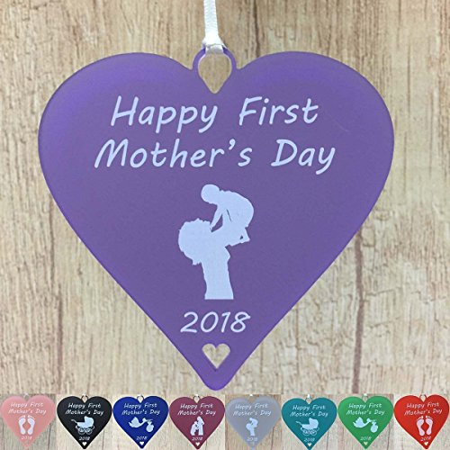 First Mothers Day Gifts 1st Heart Gift Idea for new Mum with Baby - Stork, Pram, Bump, Mother & Baby, Foot Prints (10cm Hearts) - Little Shop of Wishes