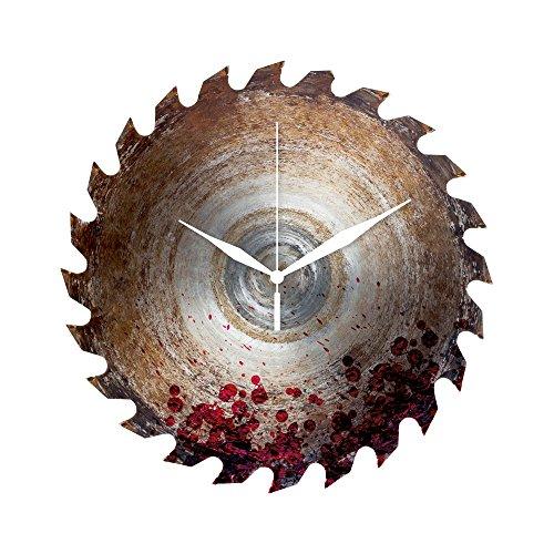 Preis am Stiel Wanduhr \'\'Sägeblatt mit Blut\'\' | Werkstattuhr | Kreissägeblatt-Uhr | Wohnaccessoire | Geschenkidee für Männer | für Wohnzimmer | Küchenuhr | Uhr